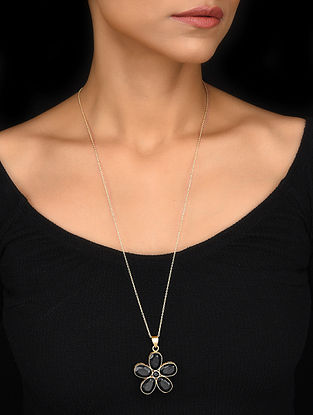 Gold Tone Black Onyx Silver Pendant with Chain