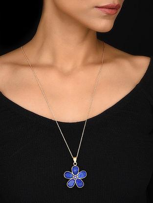 Gold Tone Blue Corundum Silver Pendant with Chain