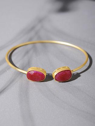 Gold Tone Silver Cuff with Pink Corundum