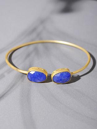 Gold Tone Silver Cuff with Blue Corundum