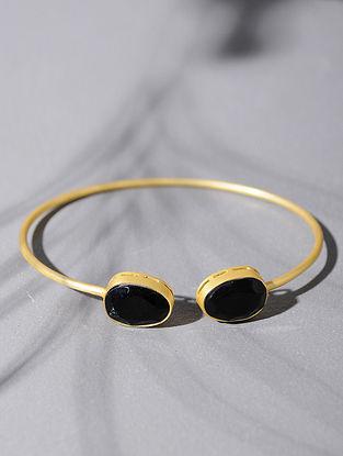 Gold Tone Silver Cuff with Black Onyx
