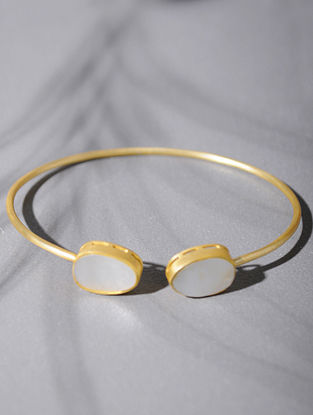 Gold Tone Silver Cuff with Mother of Pearl