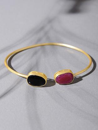 Gold Tone Silver Cuff with Black Onyx and Pink Corundum