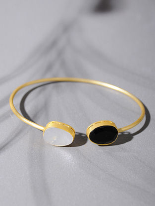 Gold Tone Silver Cuff with Black Onyx and Mother of Pearl