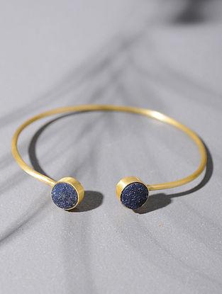 Gold Tone Silver Cuff with Blue Druzy
