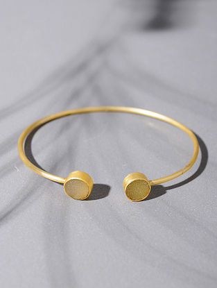 Gold Tone Silver Cuff with Yellow Druzy