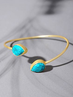 Gold Tone Silver Cuff with Turquoise