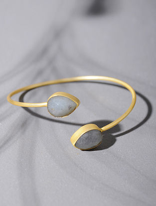 Gold Tone Silver Cuff with Moonstone