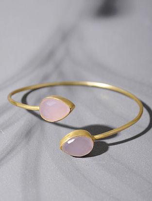 Gold Tone Silver Cuff with Rose Quartz