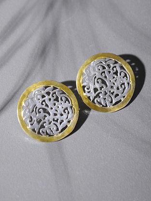 Dual Tone Silver Stud Earrings