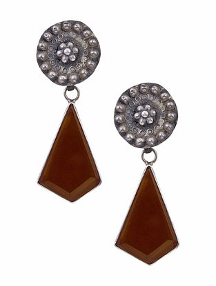 Silver Earrings with Red Onyx