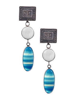 White Blue Silver Earrings with Agate