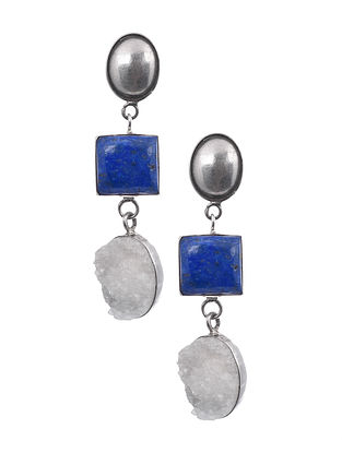 Silver Earrings with Lapis Lazuli and Druzy