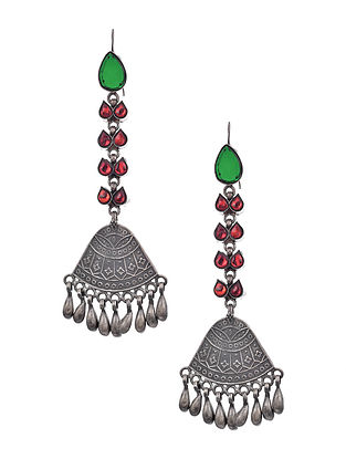 Red Green Glass Silver Earrings