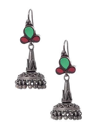 Red Green Glass Silver Earrings