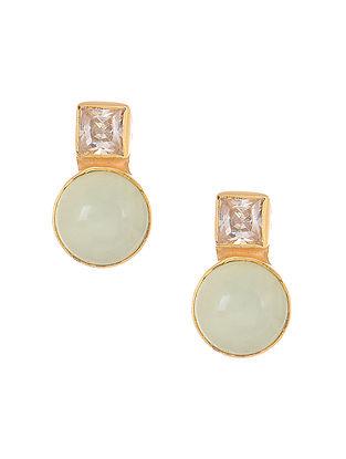 Blue Chalcedony Gold Tone Silver Earrings
