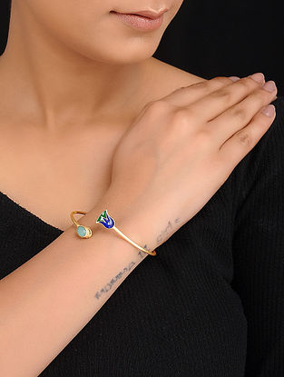 Green Chalcedony Enameled Gold Tone Silver Cuff