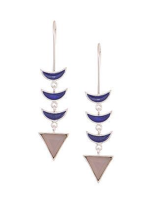 Blue Enameled Rose Quartz Silver Earrings