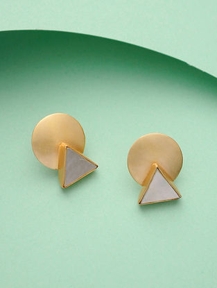 Mother of Pearl Gold Tone Silver Earrings