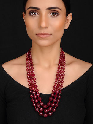 Maroon Handcrafted Onyx Beaded Necklace