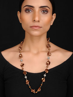 Copper Handcrafted Baroque Pearl and Shell Pearl Beaded Necklace