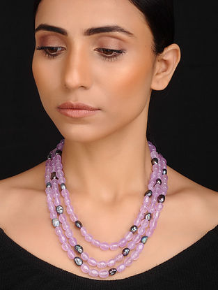 Purple Grey Handcrafted Jade Quartz and Baroque Fresh Water Pearl Beaded Necklace
