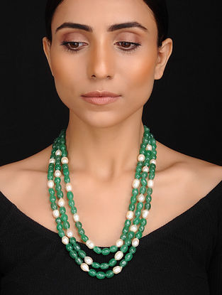 Green White Handcrafted Jade and Baroque Fresh Water Pearl Beaded Necklace