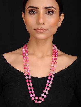 Pink Handcrafted Onyx Beaded Necklace