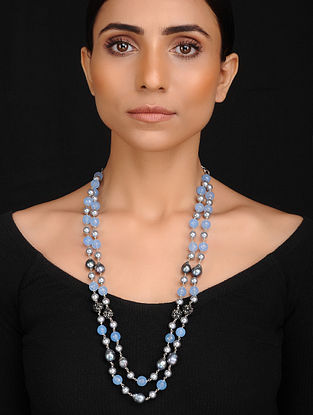 Blue Grey Handcrafted Jade Quartz Shell Pearl and Baroque Fresh Water Pearl Beaded Necklace