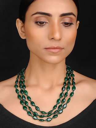 Emerald Green Handcrafted Jade Quartz Beaded Necklace