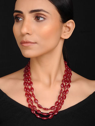 Ruby Red Handcrafted Jade Quartz Beaded Necklace