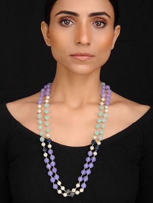 Purple Green Handcrafted Jade Quartz and Shell Pearl Beaded Necklace