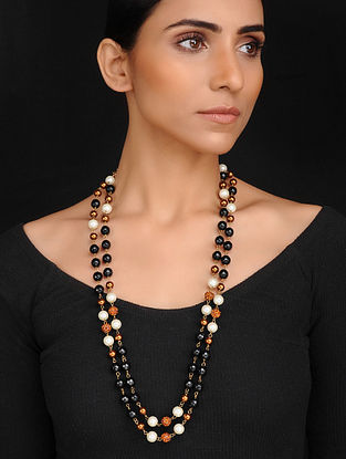 Black Brown Handcrafted Onyx and Shell Pearl Beaded Necklace