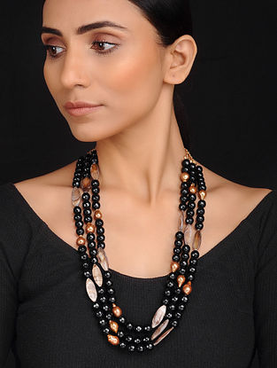 Black Copper Handcrafted Onyx Mother of Pearl and Freshwater Baroque Pearl Necklace