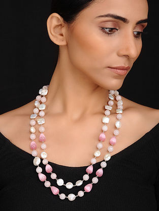 Pink White Handcrafted Jade Quartz and Fresh Water Baroque Pearl Beaded Necklace