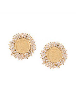 Classic Gold Tone Handcrafted Coin Earrings with Pearls