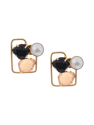 Black Brown Handcrafted Stud Earrings