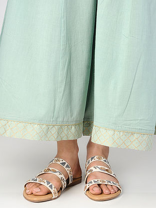 White Thread-Embroidered Suede Flats with Sequin Embellishments