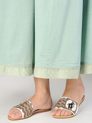 Cream Zardozi-Embroidered Raw Silk Flats