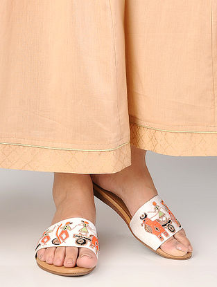 White Hand-Embroidered Raw Silk Flats with Warli Motif