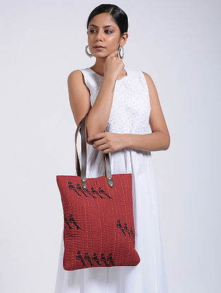 Red-Black Handcrafted Cotton Tote Bag