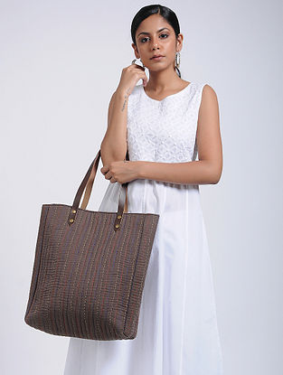 Brown-Multicolored Handcrafted Linen Tote Bag