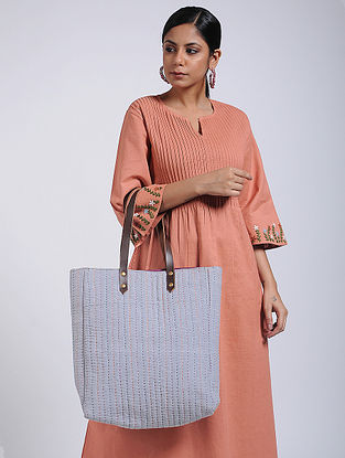 Grey-Multicolored Handcrafted Linen Tote Bag