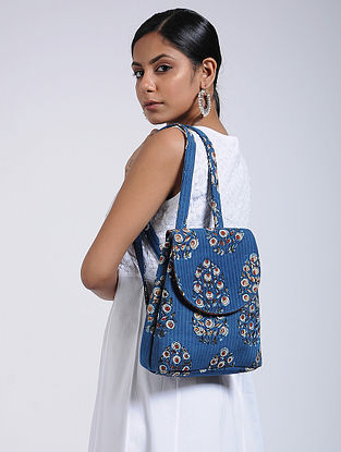 Blue Handcrafted Cotton Backpack