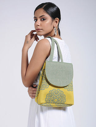 Yellow-Green Handcrafted Cotton Backpack