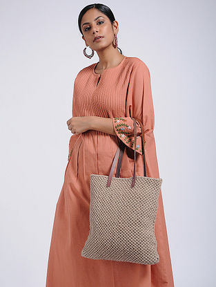 Brown Handcrafted Jute Macrame Tote Bag