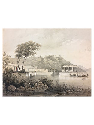 Bund of The lake, Rajsamudra Lithoprint - 12in x 18in