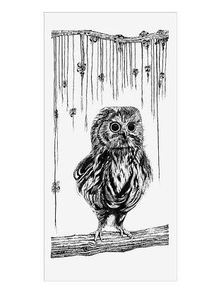 Baby Owl Art Print on Paper- 12in x 18in