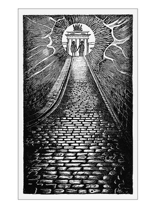 Cobbled Street Art Print on Paper- 12in x 18in