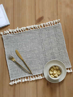 Arabian Sea Grey Handcrafted Cotton Placemat (13in x 19in)